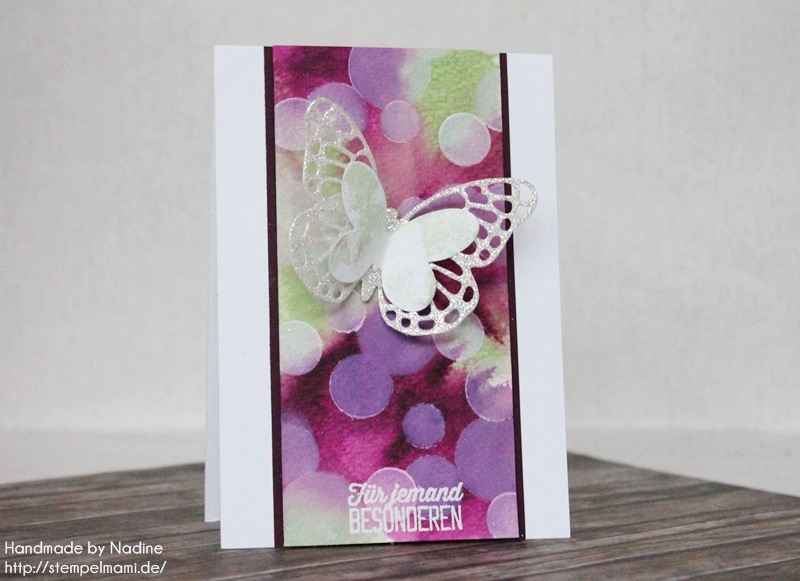 Stampin Up Geburtstagskarte Birthday Card Bokeh Technik Thinlits Formen Schmetterlinge Card Karte 004