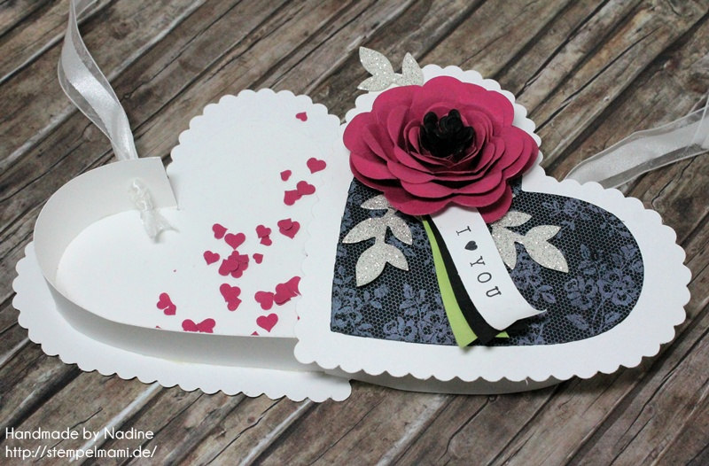 Stampin Up Box Goodie Valentinstag Inspiration Art Blog Hop Liebe Love Hochzeit Drehstempel Bigz Spiralblume Framelits Herz Kollektion Stempel I Love Lace Gastgeschenke Verpackung Schachtel  046
