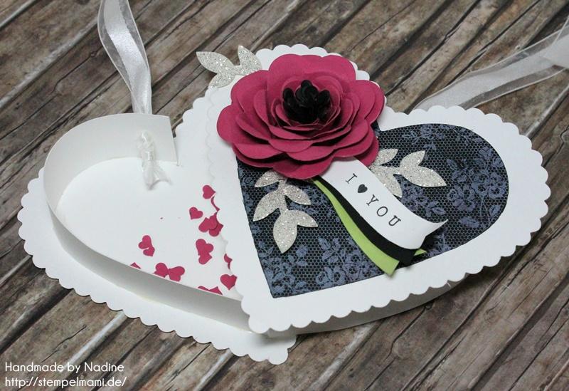 Stampin Up Box Goodie Valentinstag Inspiration Art Blog Hop Liebe Love Hochzeit Drehstempel Bigz Spiralblume Framelits Herz Kollektion Stempel I Love Lace Gastgeschenke Verpackung Schachtel  048