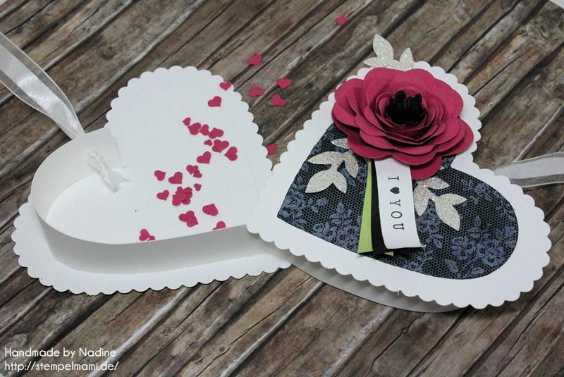 Stampin Up Box Goodie Valentinstag Inspiration Art Blog Hop Liebe Love Hochzeit Drehstempel Bigz Spiralblume Framelits Herz Kollektion Stempel I Love Lace Gastgeschenke Verpackung Schachtel  058