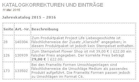 Stampin Up Katalogkorrekturen Stempelmami Nadine Koeller