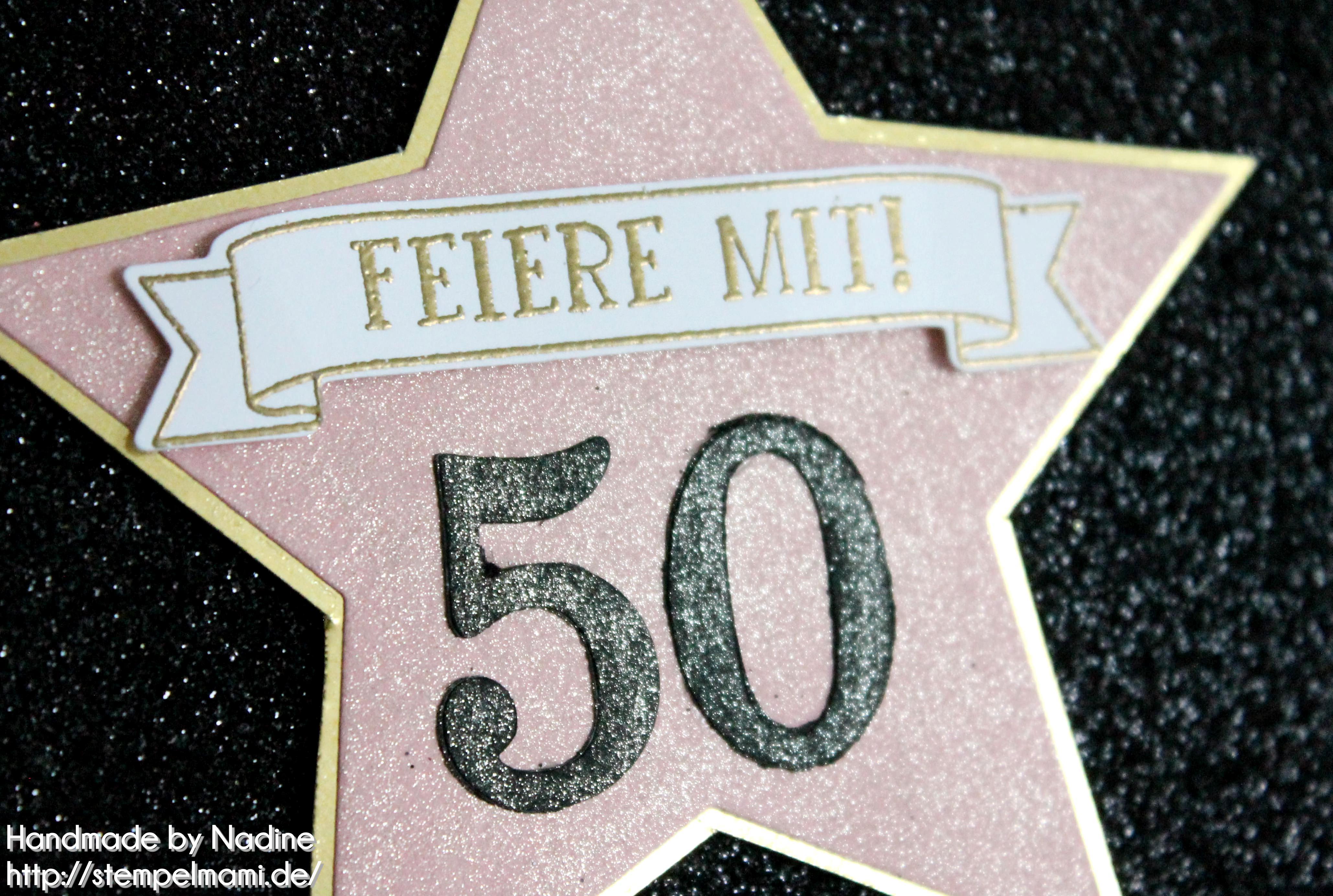 Einladungskarte zum 50. Geburtstag - Basteln mit Stempelmami