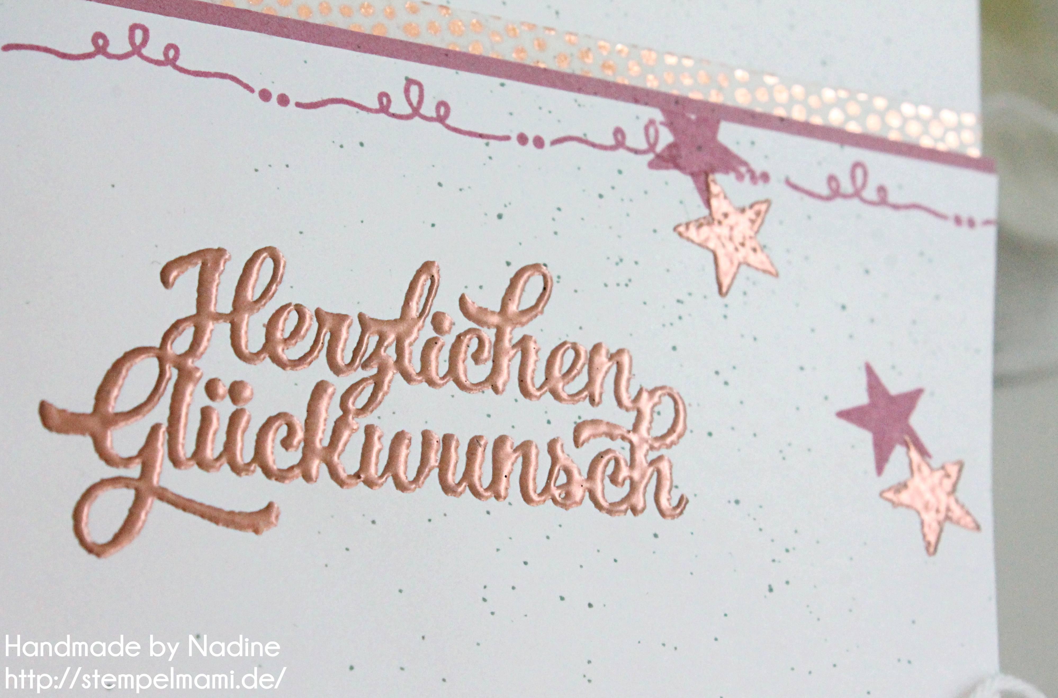 Geburtstagskarte mit Kupfer embosst - Basteln mit Stampin`Up!