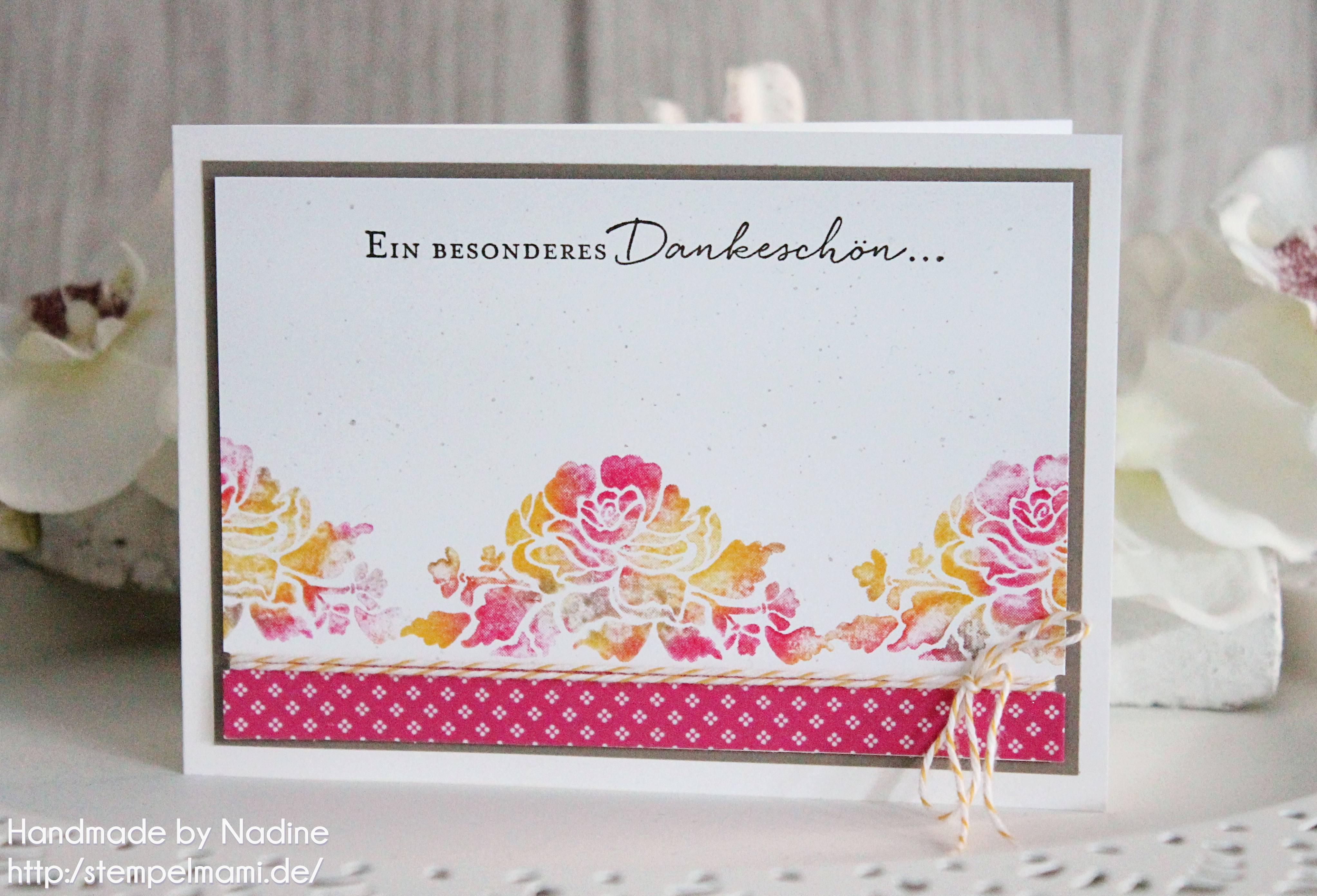 Eine Dankeskarte mit der Baby Wipe Technique