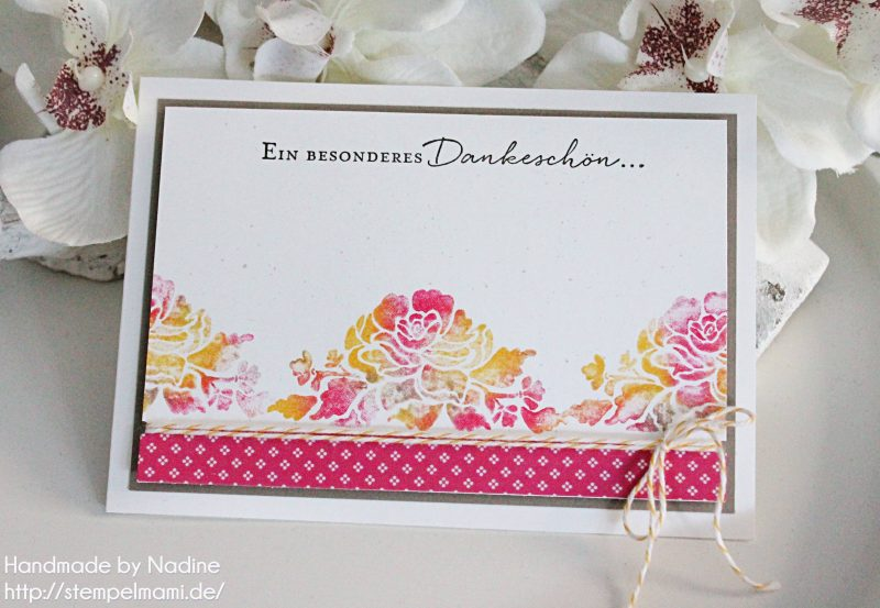 stampin up dankeskarte grusskarte stempelmami thank you card baby wipe technique stempelset florale gruesse