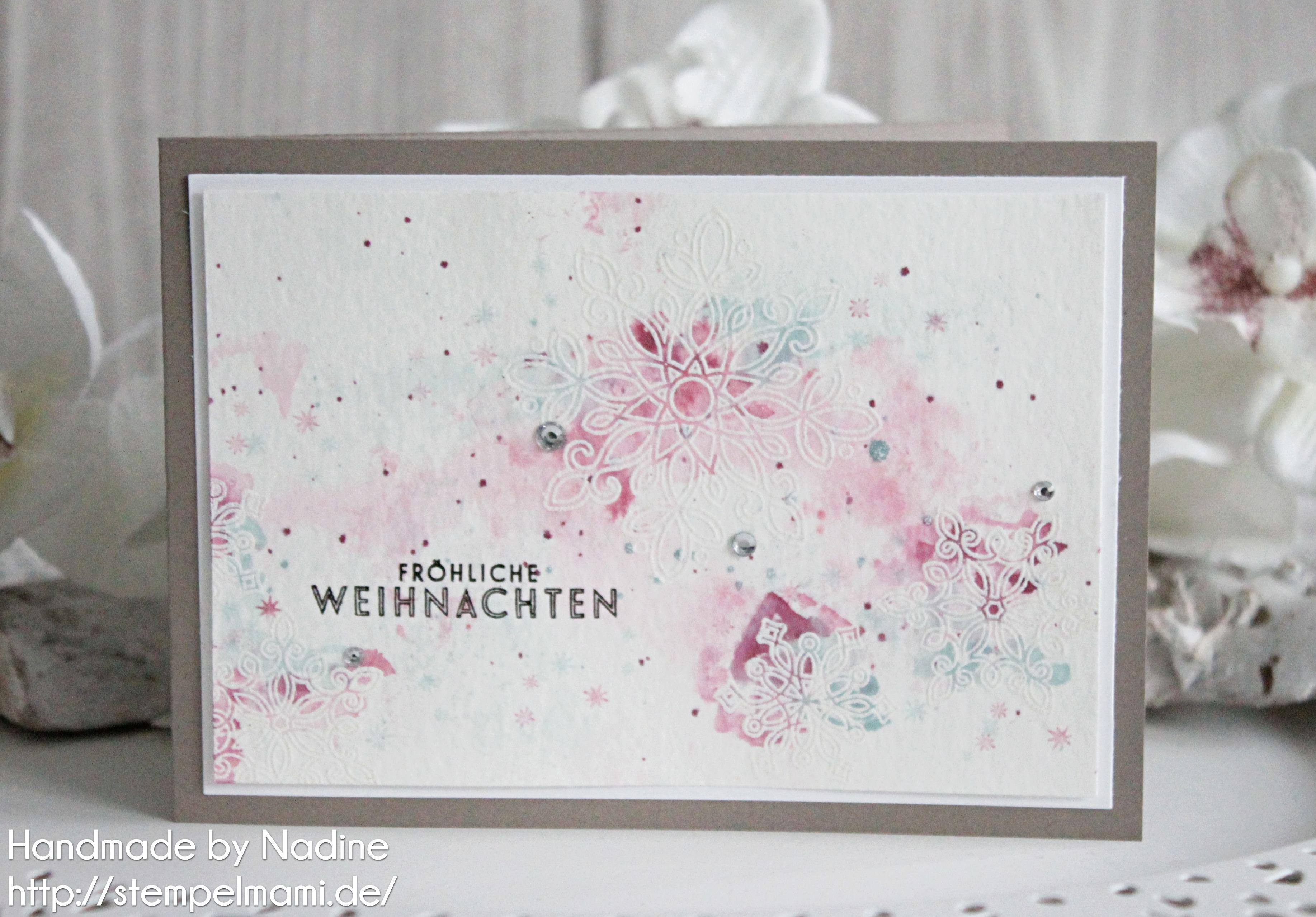 weihnachtskarte in zarten pastellfarben basteln mit stampin up. Black Bedroom Furniture Sets. Home Design Ideas