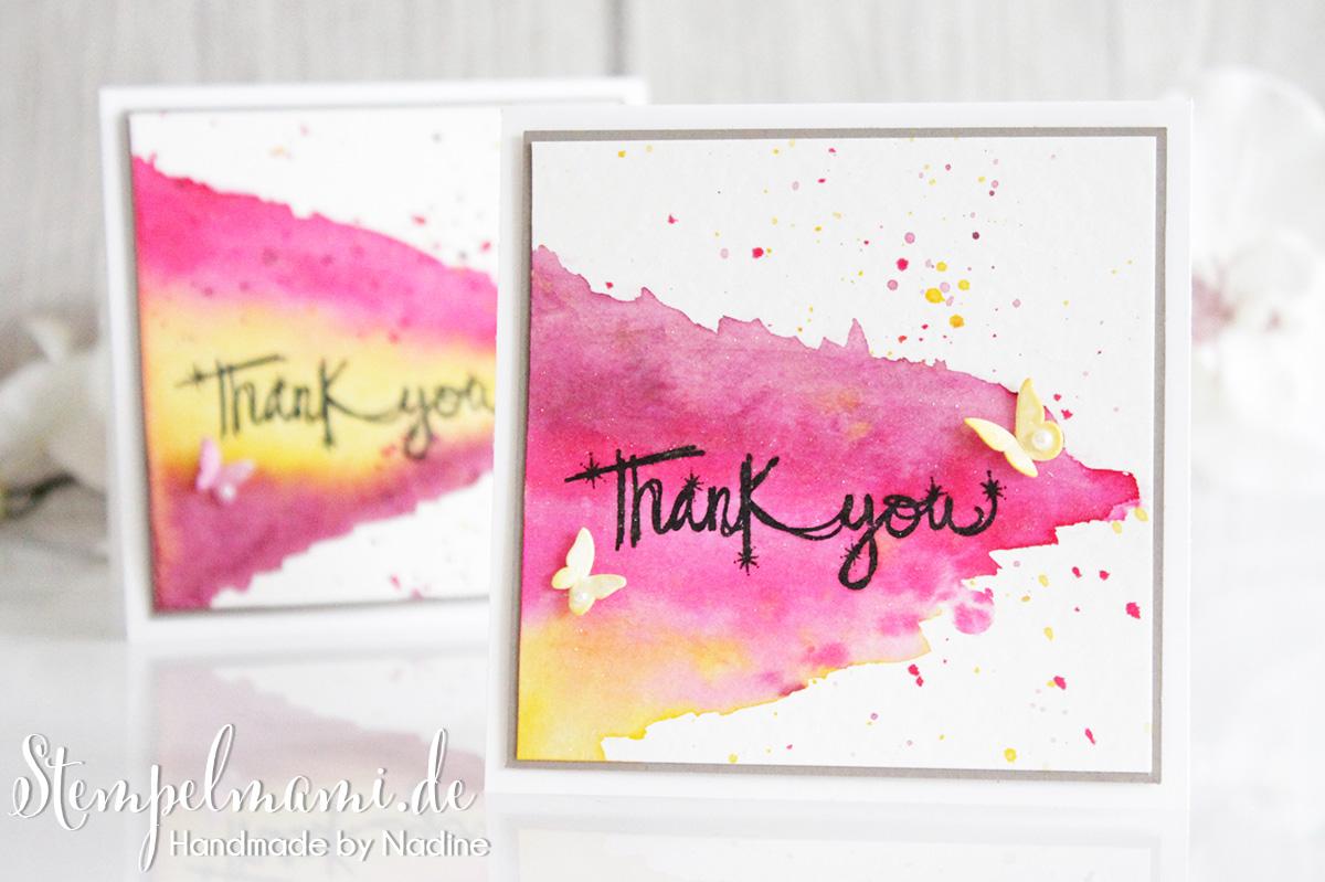 Dankeskarten in Aquarelltechnik