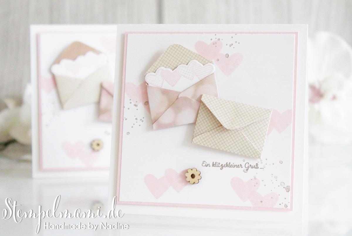 Grusskarte mit Gruss und Kuss in zarten Pastellfarben