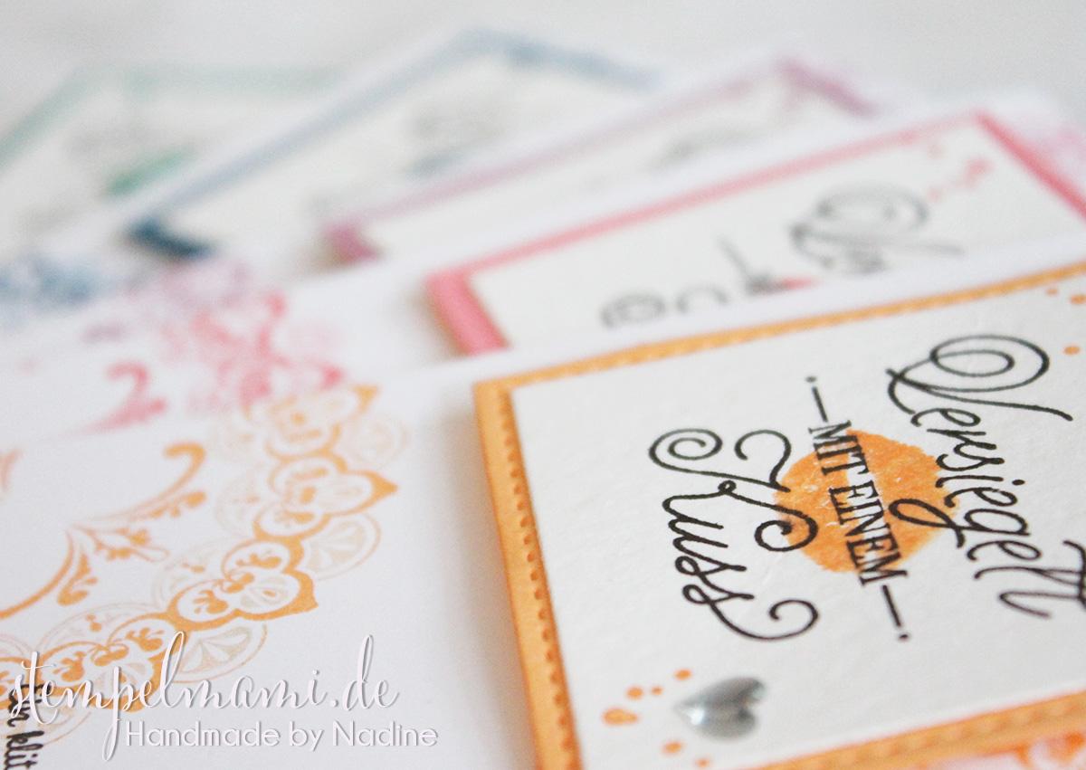 Kleine Grusskarten mit Gruss und Kuss
