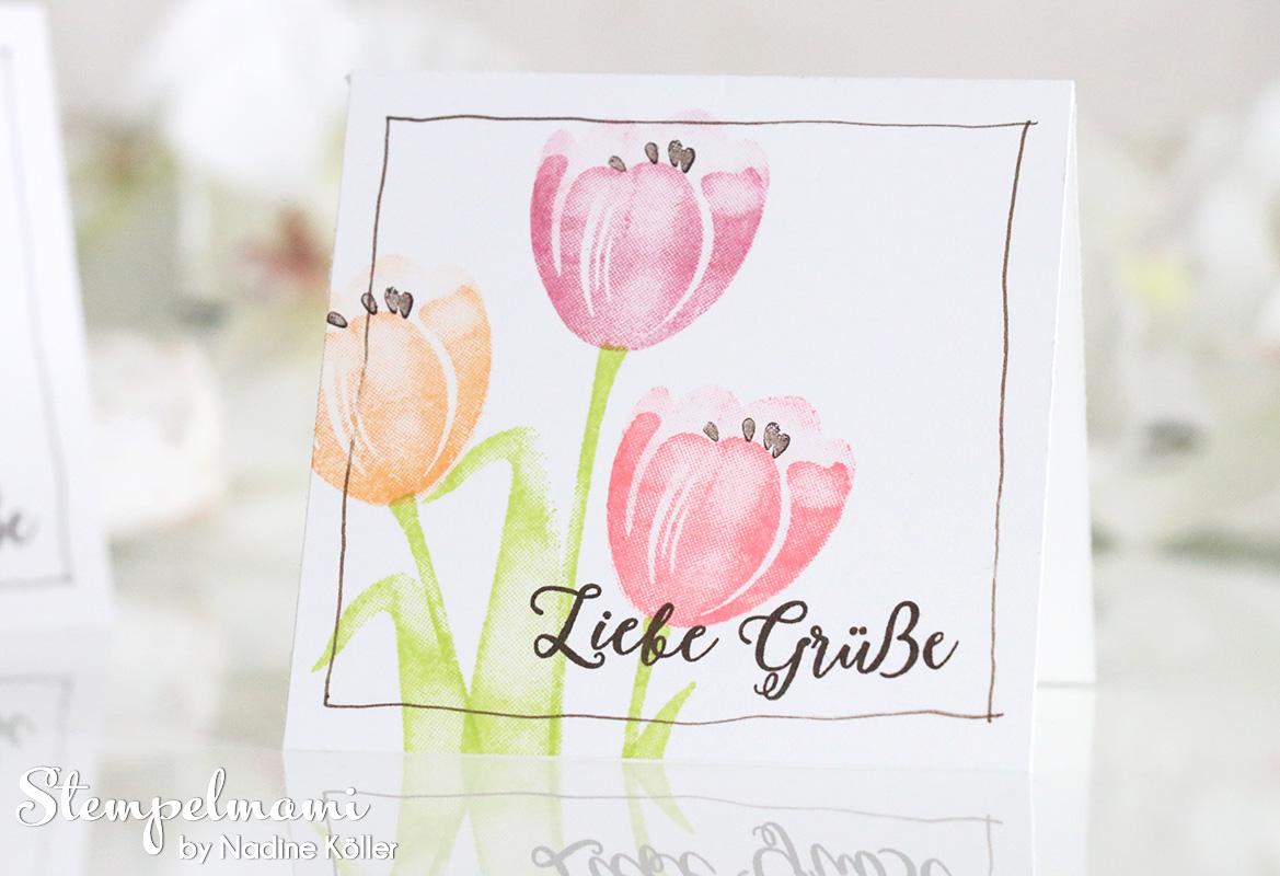 Grus Karten: Mini Grusskarten Tranquil Tulips