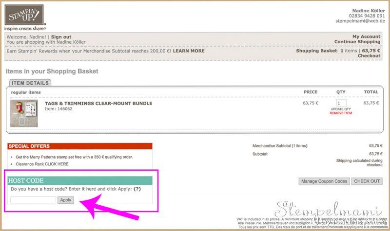 stampin up 15 prozent rabatt online shop bestellung stempelmami mein gratis geschenk