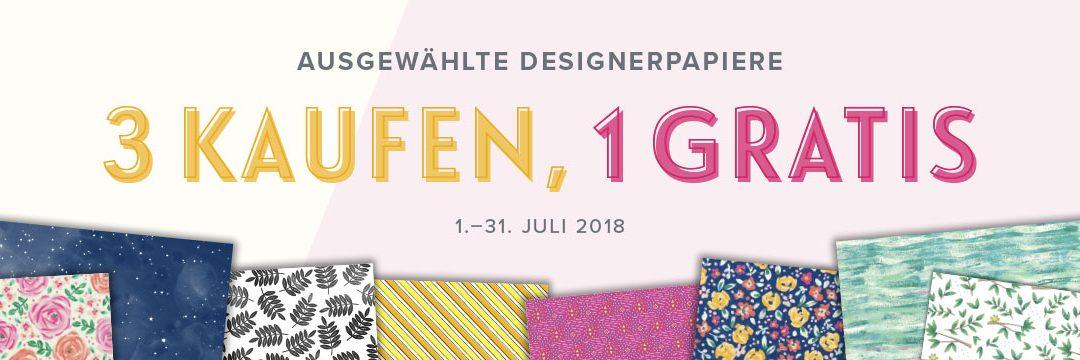 Stampin' Up! Designerpapieraktion, 3 kaufen 1 gratis