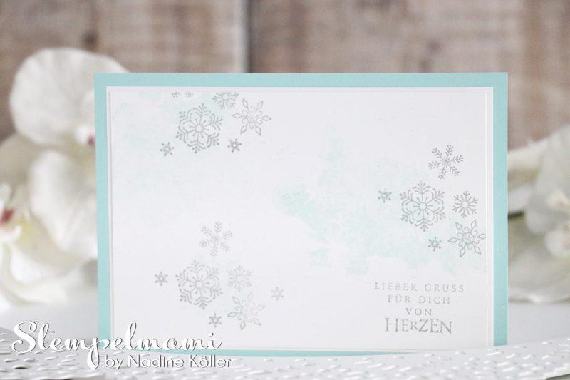 stampin up video anleitung weihnachtskarte flockenfantasie mit glanzfarbe stempelmami 1