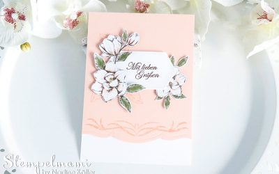 Grusskarte mit Magnoliengruss