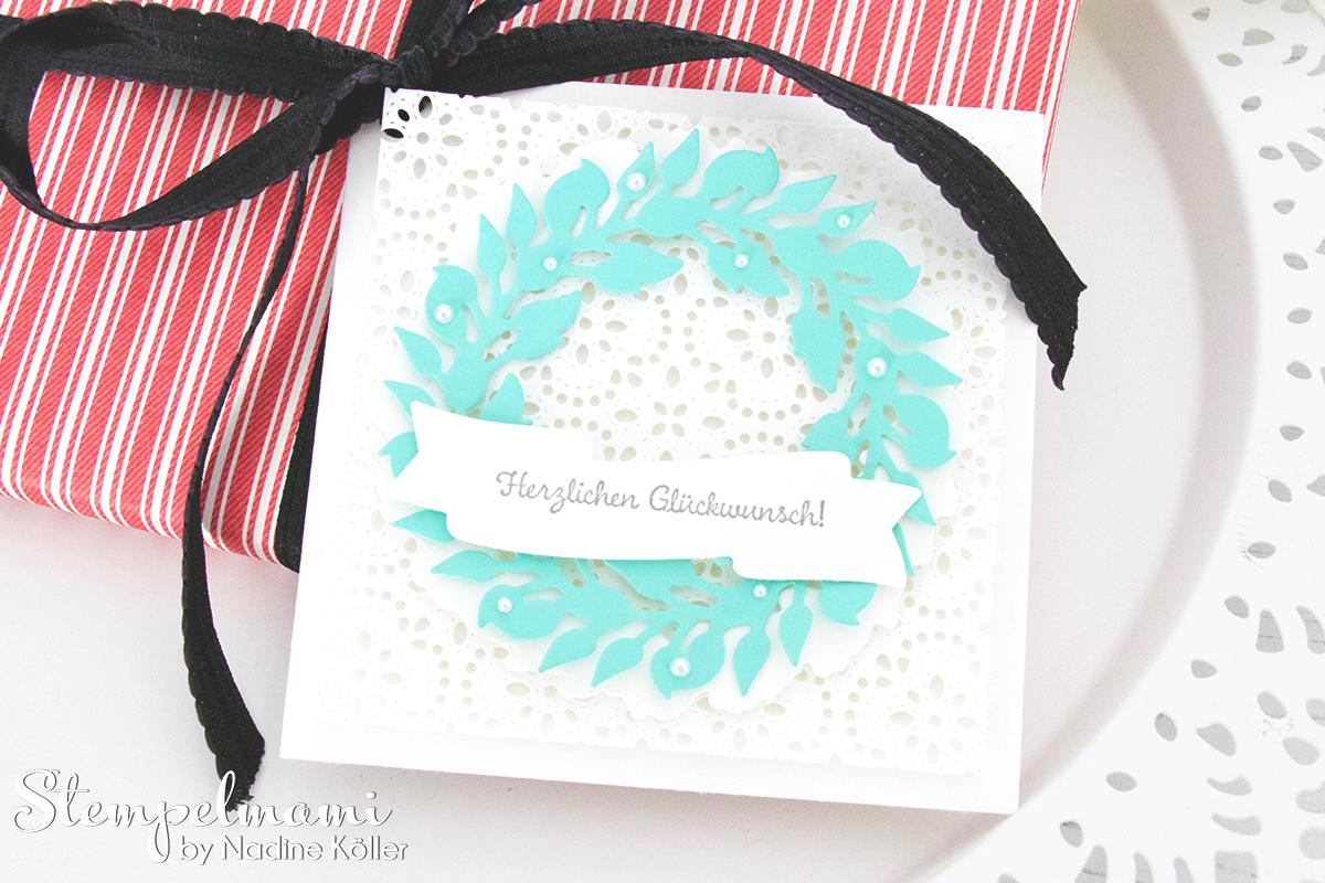 stampin up glueckwunschkarte als geschenkanhaenger karte gruener kranz weihnachtskardinal stempelmami 1