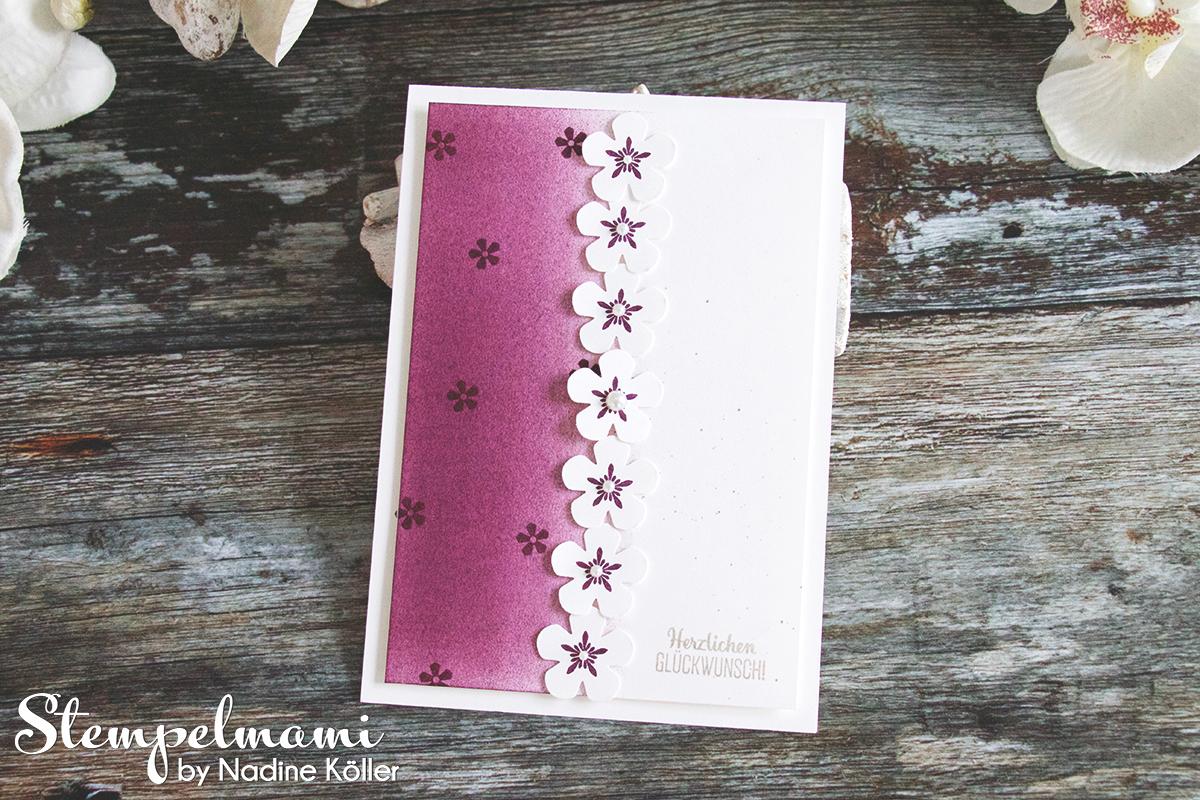 Stampin Up Geburtstagskarte Blumige Überraschung mit Brayer Technik Stempelmami Glueckwunschkarte 2