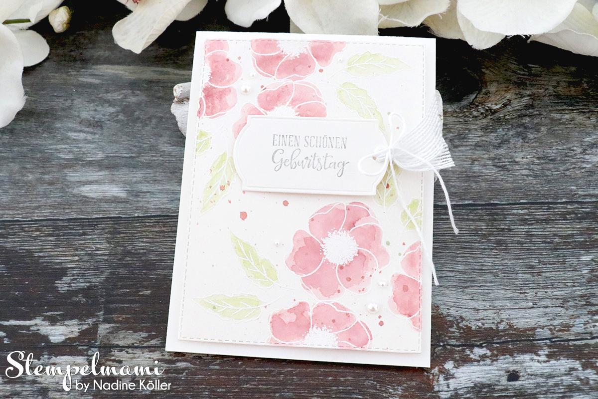 Stampin Up Geburtstagskarte Painted Poppies in Aquarelltechnik mit Videoanleitung Stempelmami 1