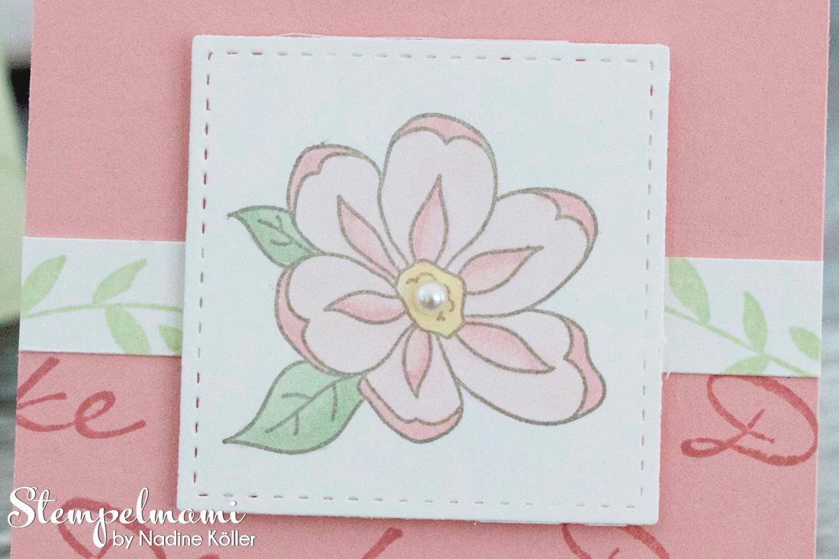 Stampin Up Anleitung Tutorial Mini Dankeskarten basteln Gartenzauber Stampin Blends Videoanleitung Youtube Stempelmami 4