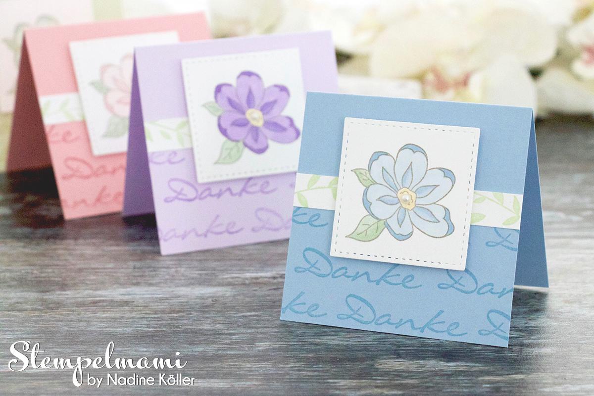 Stampin Up Anleitung Tutorial Mini Dankeskarten basteln Gartenzauber Stampin Blends Videoanleitung Youtube Stempelmami 6