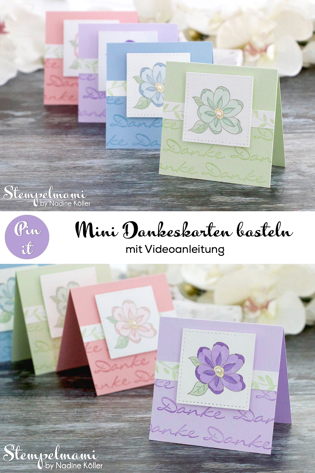 Stampin Up Anleitung Tutorial Mini Dankeskarten basteln Gartenzauber Stampin Blends Videoanleitung Youtube Stempelmami Pinterest