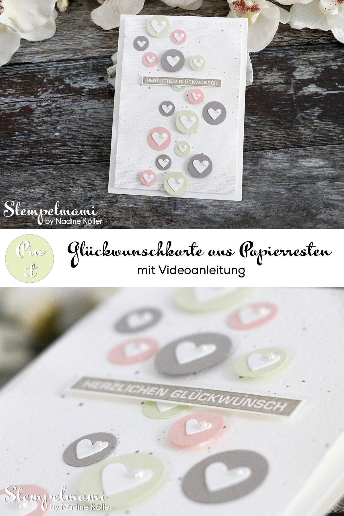 Stampin Up Glueckwunschkarte aus Papierresten basteln mit Videoanleitung Youtube Stempelmami Alles im Block 5