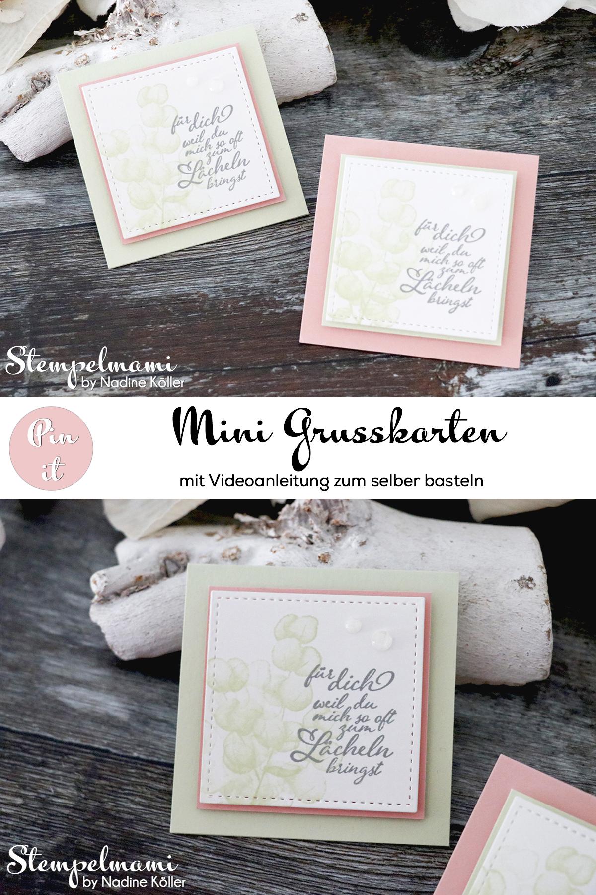 Stampin Up Videoanleitung Mini Grusskarten basteln Produktpaket Fuer alle Zeit Produktreihe Ewiges Gruen Stempelmami Youtube Pinterest