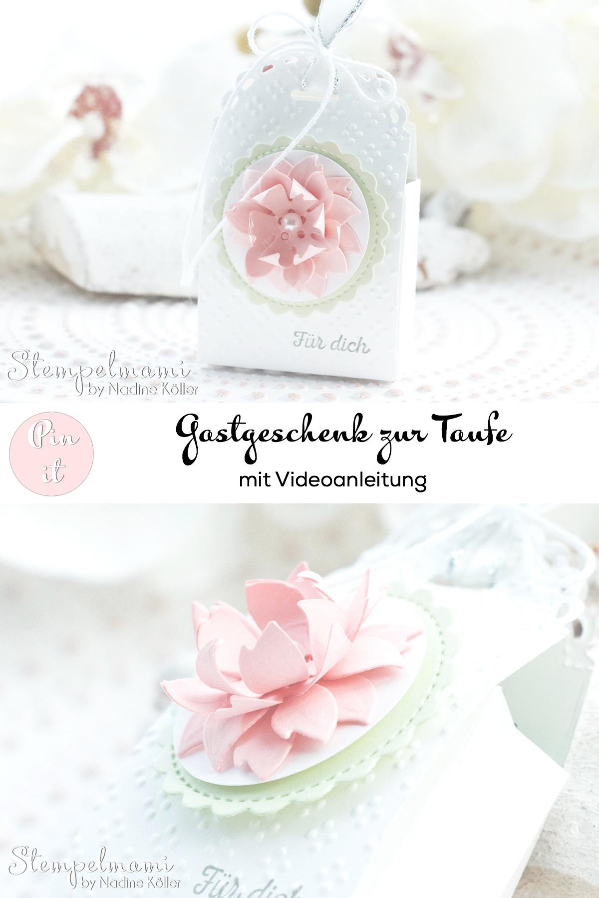 Stampin Up Mini Geschenkschachtel als Gastgeschenk zur Taufe mit 3d Blume Goodie Anleitung Stempelmami Youtube 8