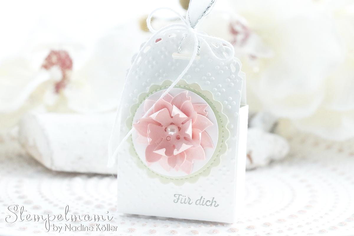 Stampin Up Mini Geschenkschachtel als Gastgeschenk zur Taufe mit 3d Blume Goodie Anleitung Stempelmami Youtube