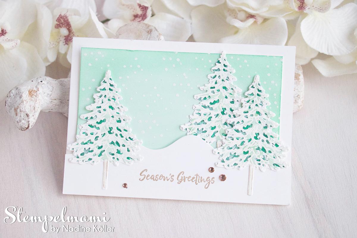 Stampin Up Anleitung Weihnachtskarten Ideen mit dem Produktpaket In the Pines Weihnachtskarte basteln Stempelmami 3
