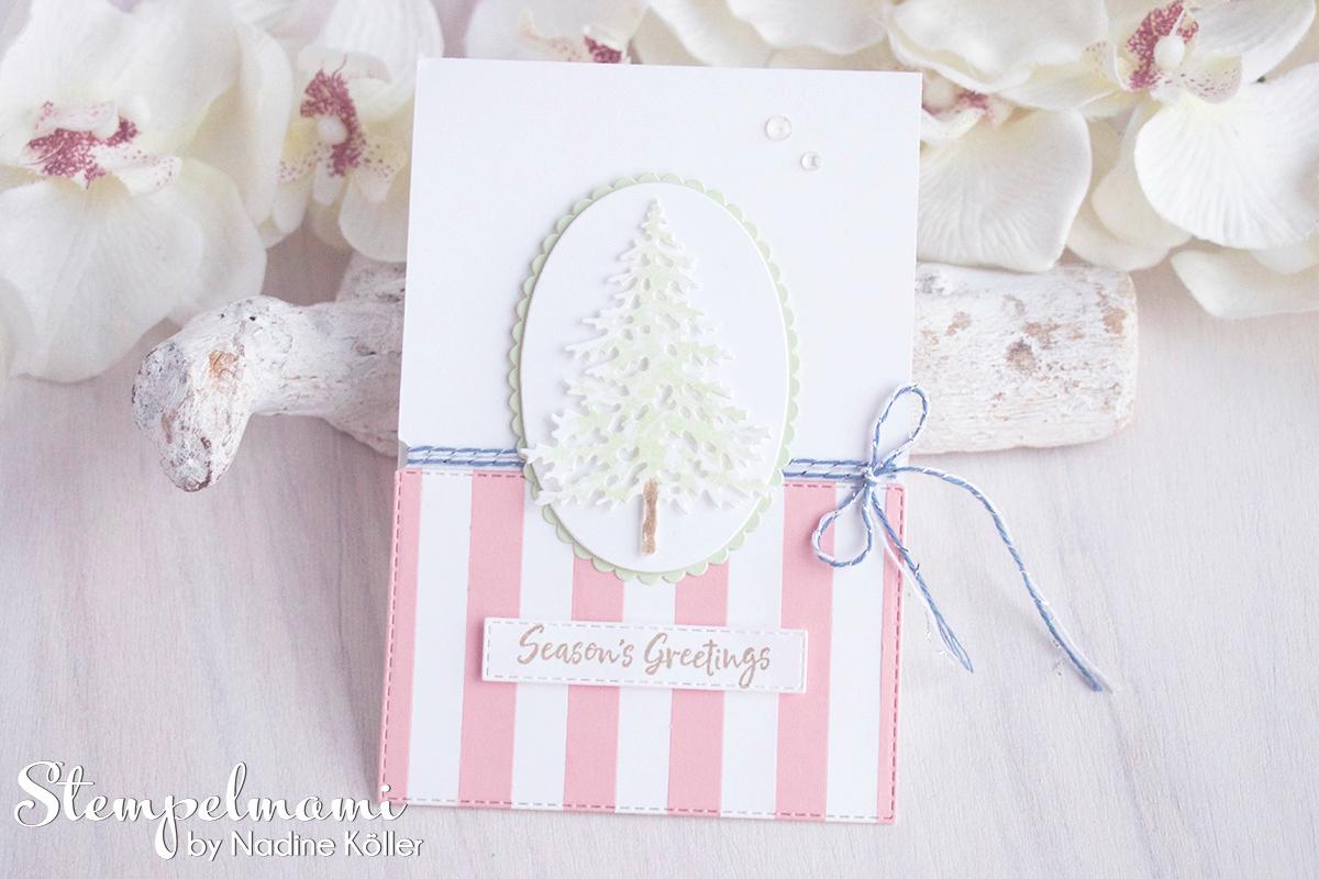 Stampin Up Anleitung Weihnachtskarten Ideen mit dem Produktpaket In the Pines Weihnachtskarte basteln Stempelmami 5