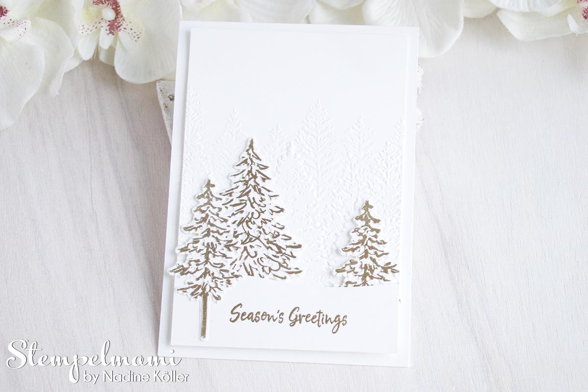 Stampin Up Anleitung Weihnachtskarten Ideen mit dem Produktpaket In the Pines Weihnachtskarte basteln Stempelmami