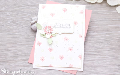 Geburtstagskarte Blumen verziert