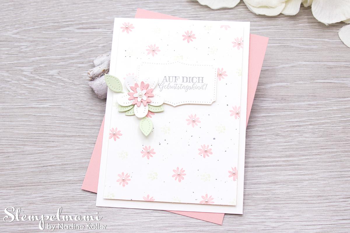 Stampin Up Geburtstagskarte Blumen verziert Stanzformen Perforierte Blumen Stempelmami 1
