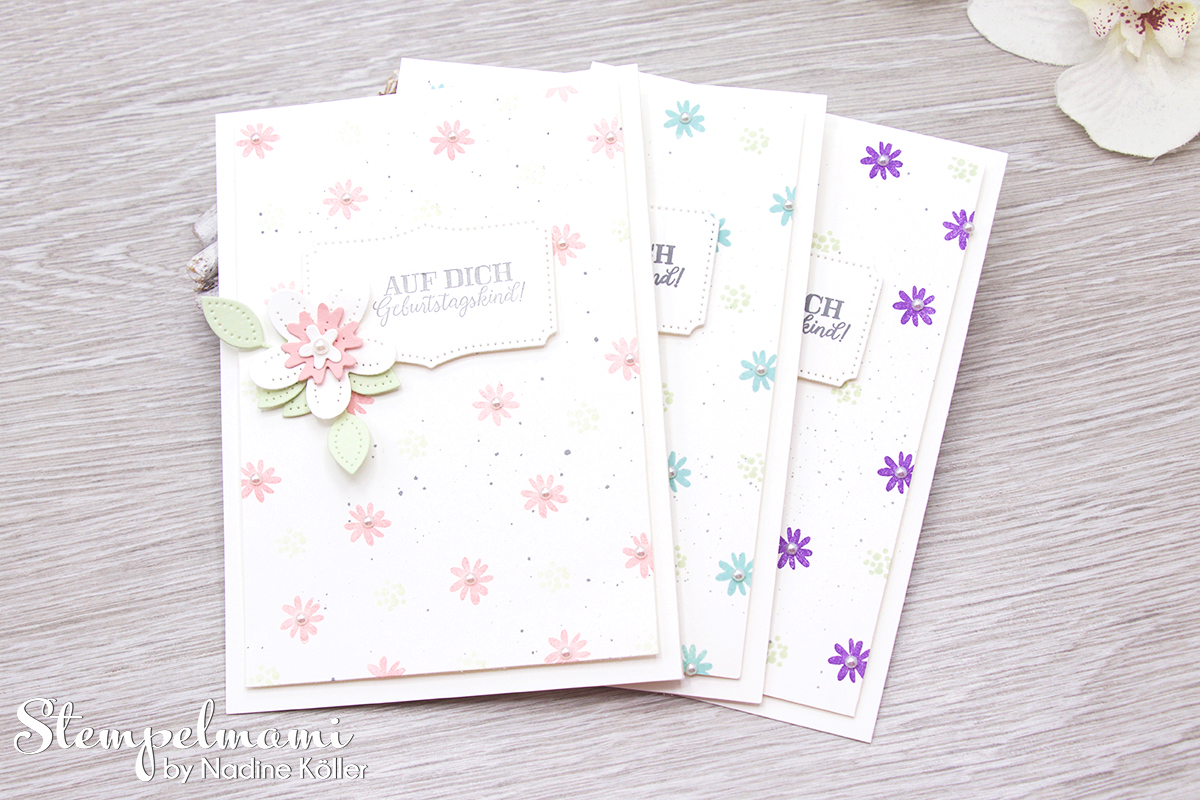 Stampin Up Geburtstagskarte Blumen verziert Stanzformen Perforierte Blumen Stempelmami 3