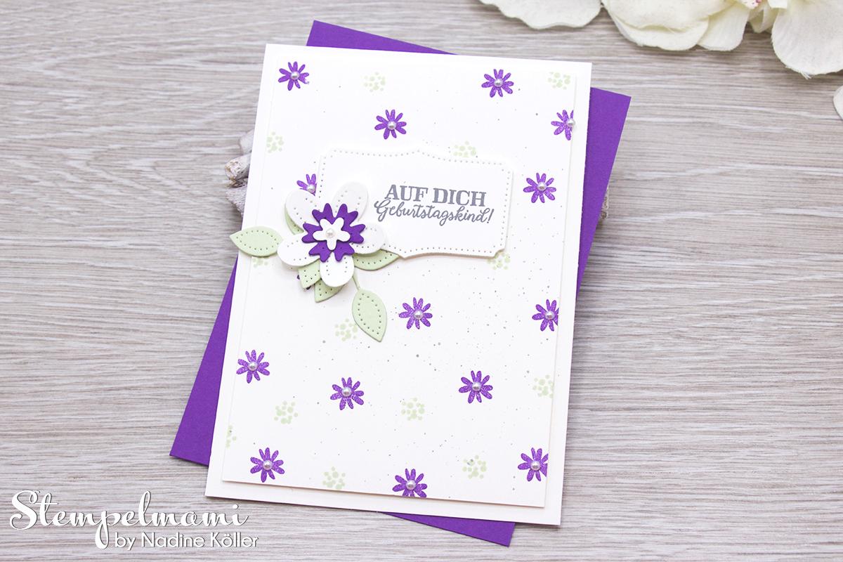 Stampin Up Geburtstagskarte Blumen verziert Stanzformen Perforierte Blumen Stempelmami 4