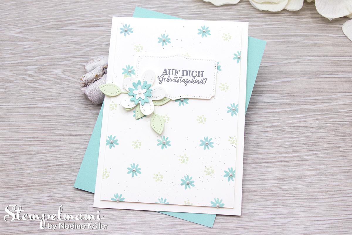 Stampin Up Geburtstagskarte Blumen verziert Stanzformen Perforierte Blumen Stempelmami 5