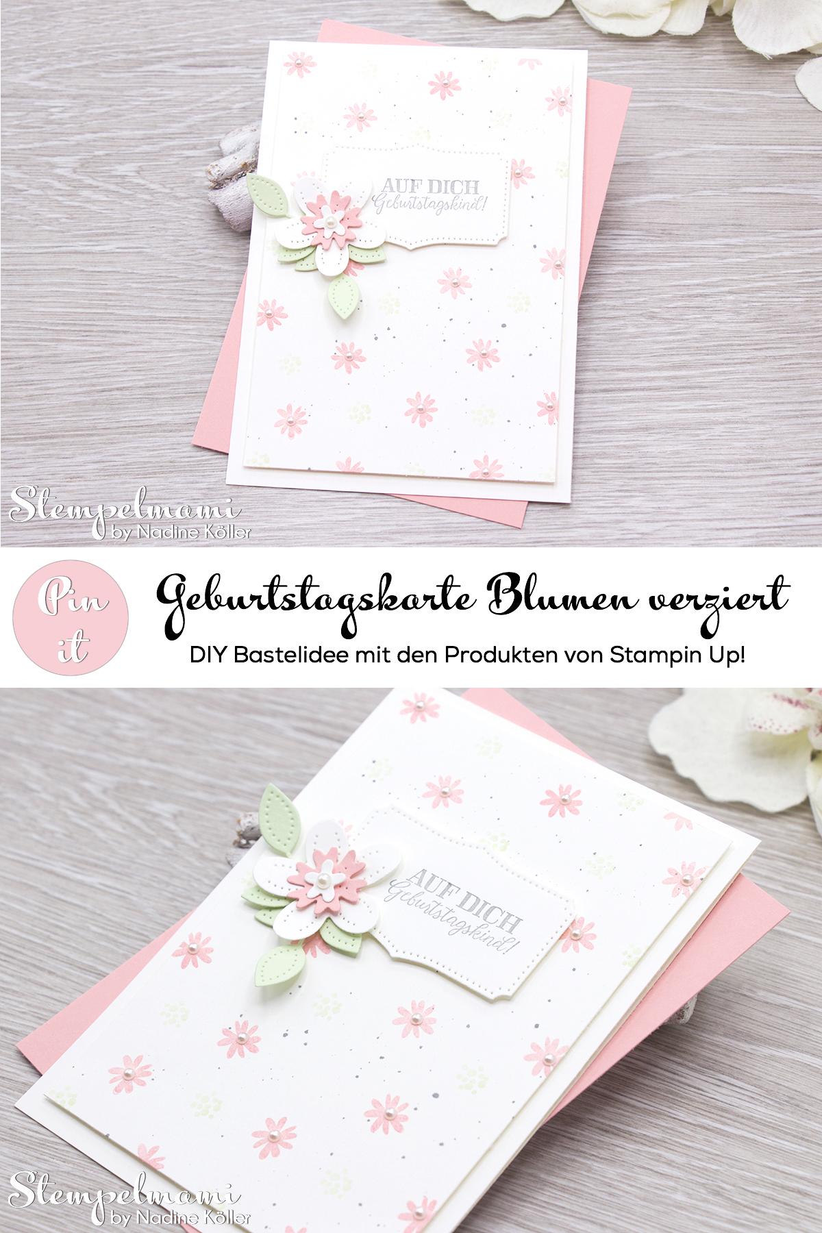 Stampin Up Geburtstagskarte Blumen verziert Stanzformen Perforierte Blumen Stempelmami 6