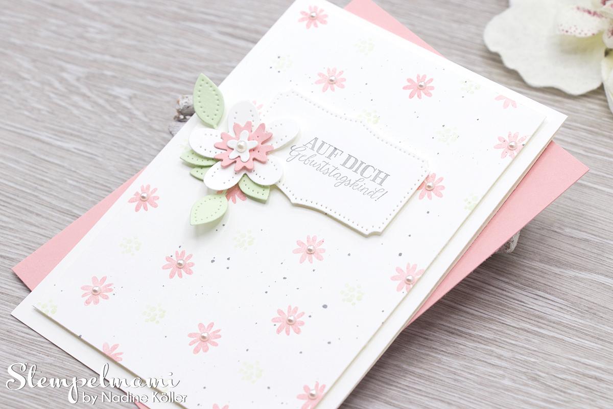 Stampin Up Geburtstagskarte Blumen verziert Stanzformen Perforierte Blumen Stempelmami