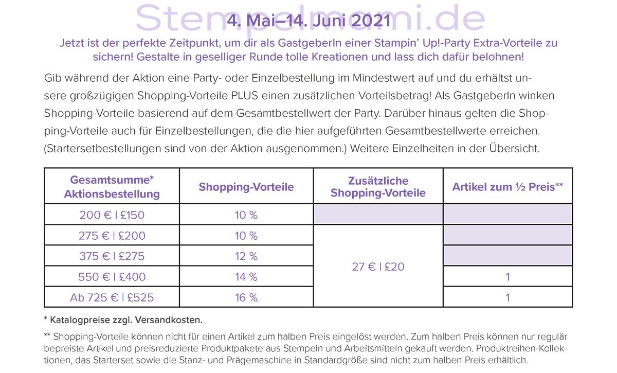 27 Euro Extra Shoppingvorteile von Mai bis Juni 2021 Stempelmami Stampin Up Produkte bestellen 1