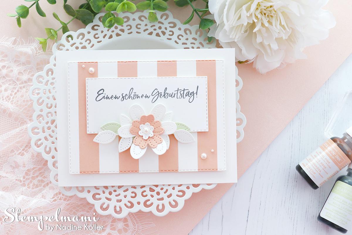 Stampin Up gestreifte Geburtstagskarte mit perforierten Blumen Eiszeit Stempelmami 1