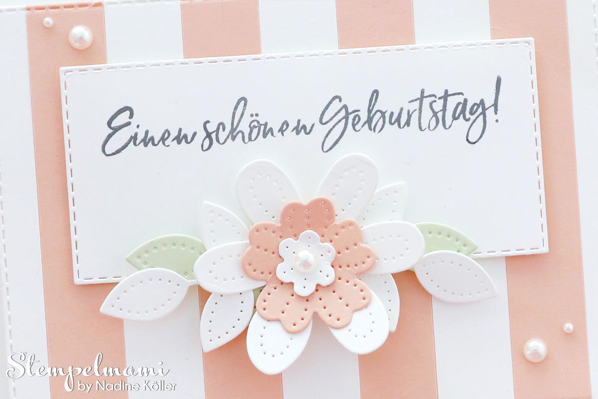 Stampin Up gestreifte Geburtstagskarte mit perforierten Blumen Eiszeit Stempelmami 2