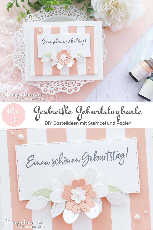 Stampin Up gestreifte Geburtstagskarte mit perforierten Blumen Eiszeit Stempelmami 3