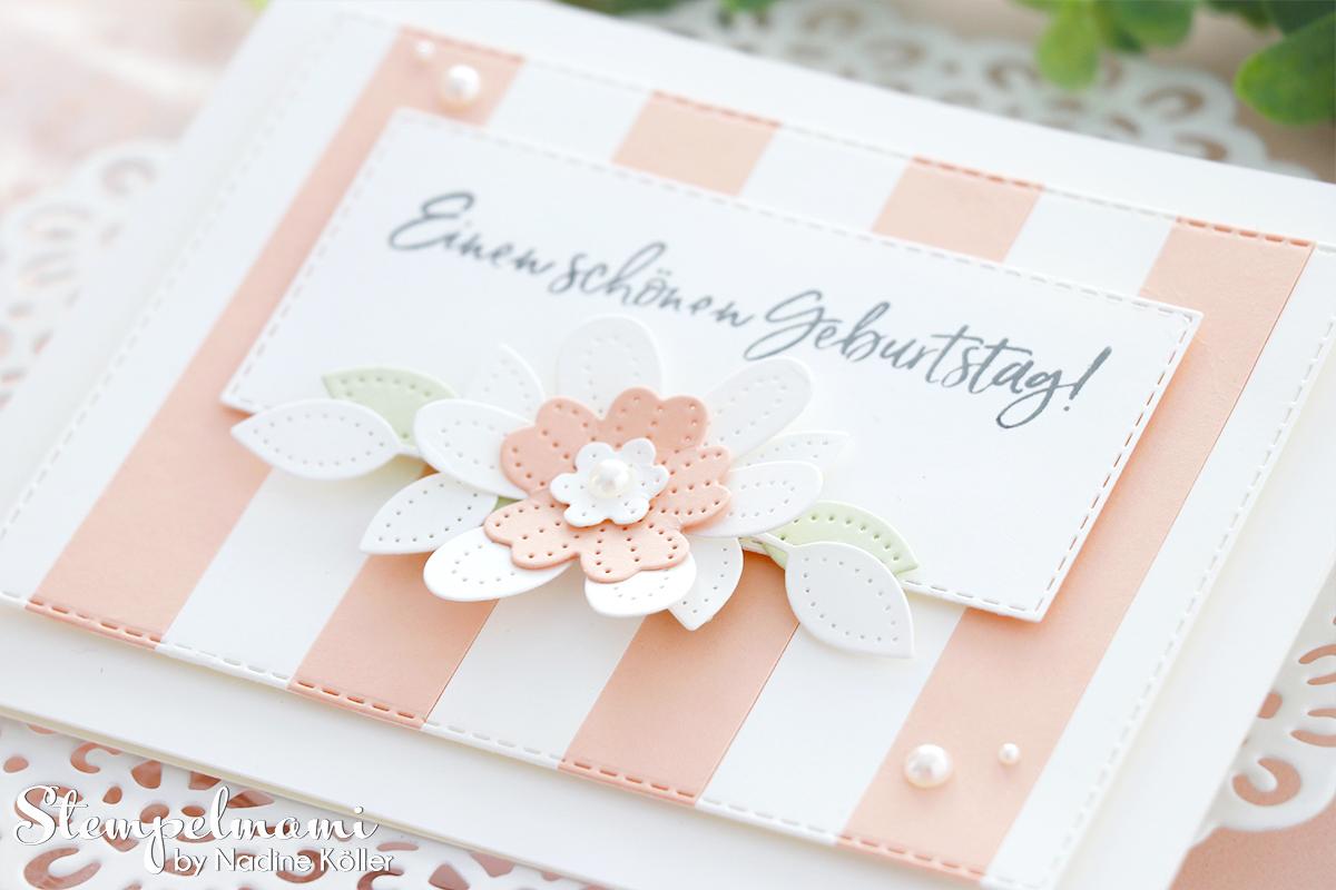 Stampin Up gestreifte Geburtstagskarte mit perforierten Blumen Eiszeit Stempelmami