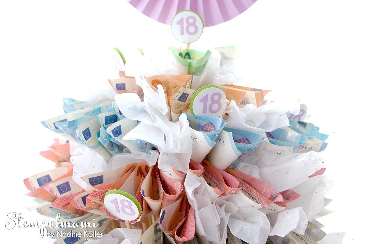 Geldgeschenk zum 18. Geburtstag Geldtorte Money Present Birthday Cake 18. Geburtstag Stempelmami 11