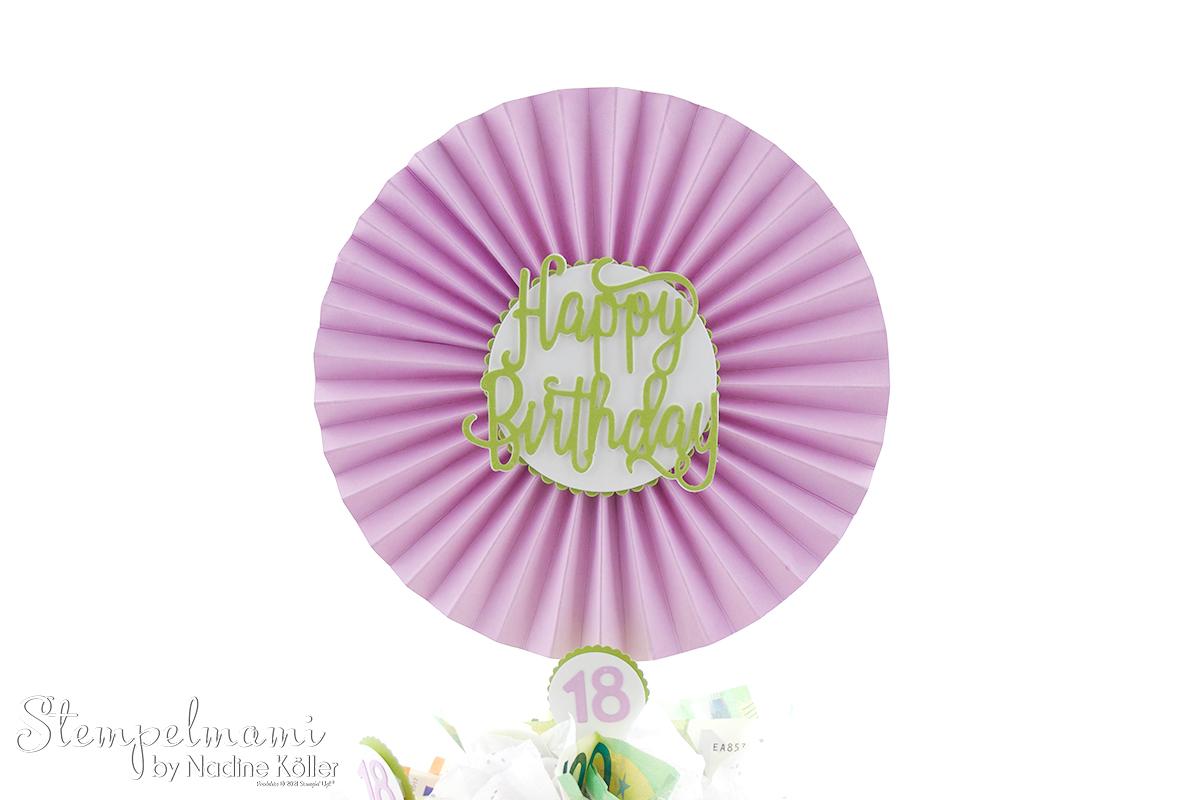 Geldgeschenk zum 18. Geburtstag Geldtorte Money Present Birthday Cake 18. Geburtstag Stempelmami 7