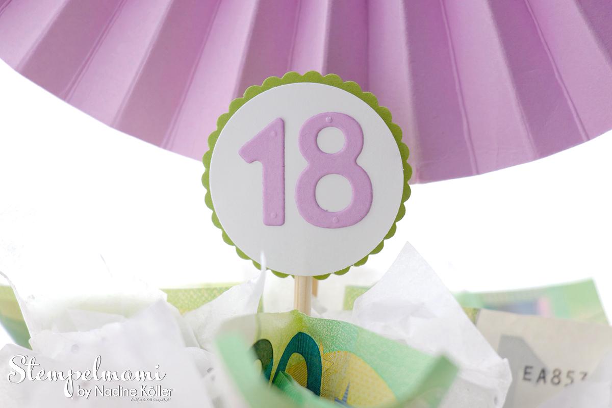 Geldgeschenk zum 18. Geburtstag Geldtorte Money Present Birthday Cake 18. Geburtstag Stempelmami 9