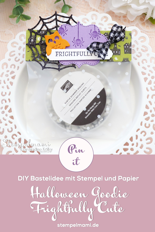 Stampin Up Halloween Bag Topper fuer Geschenktuete basteln Frightfully Cute Stempelmami 4