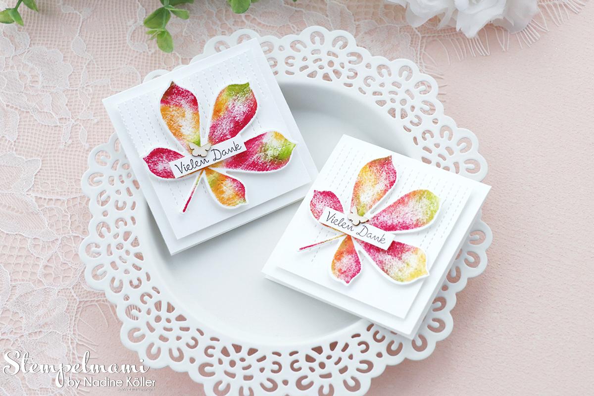 Stampin Up Herbstliche Mini Dankeskarte mit der Babywipe Technik Stempelmami Wunderbare Blaetter 4