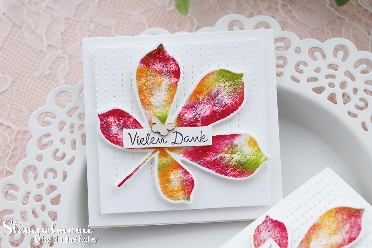 Stampin Up Herbstliche Mini Dankeskarte mit der Babywipe Technik Stempelmami Wunderbare Blaetter 5