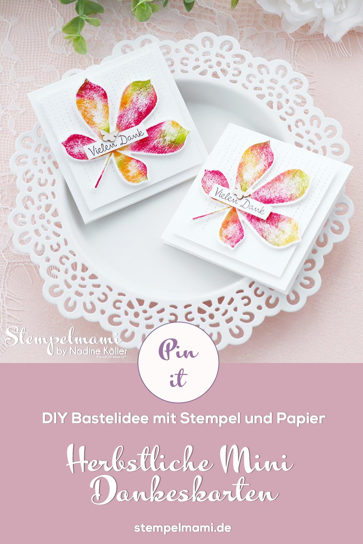 Stampin Up Herbstliche Mini Dankeskarte mit der Babywipe Technik Stempelmami Wunderbare Blaetter 7